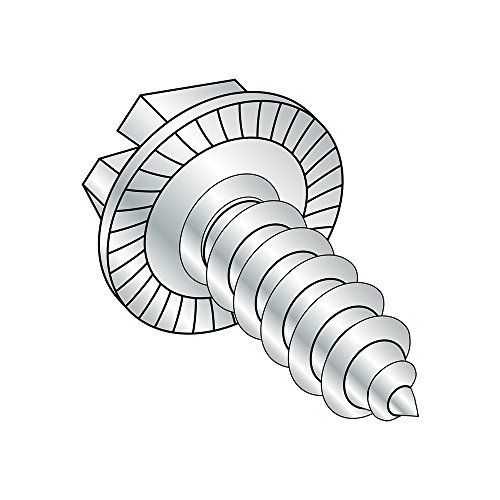 Steel Sheet Metal Screw, Zinc Plated, Serrated Hex Washer Head, Slotted Drive, Type AB, 1/4