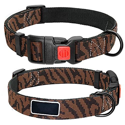 LSHMSN Ajustbale Nylon Cuello De Perro, Leopardo Cuello De Perro De Seguridad Impreso para Pequeños Perros Grandes Pitbull Labrador Suministros para Mascotas,Marrón,35~48cm
