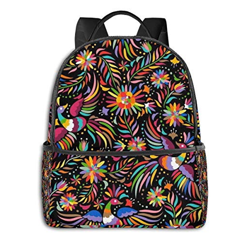Black Bag Mexican Floral Ethnic Art Birds Paisley Flowers Rucksack Sack Laptop Travel School Gym Backpack for Students Mens Womens