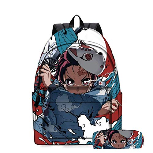 ZBK Anime Demon Slayer Rucksack, Laptop-Rucksack für Damen und Herren, Schulranzen-Set mit Federmäppchen für Jungen und Mädchen, 14 Farben Gr. M, C