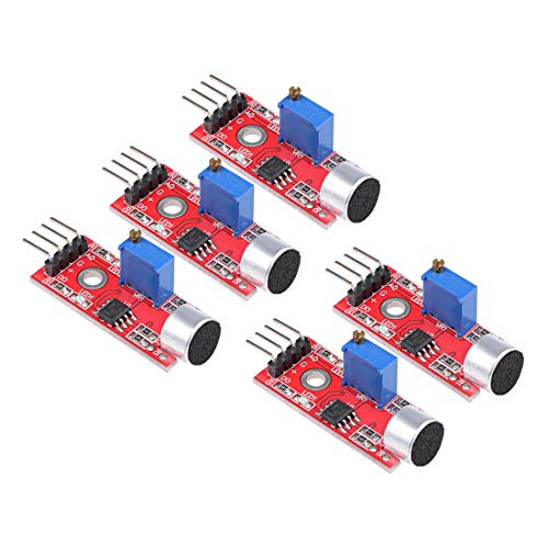 uxcell Microphone Sound Sensor Voice Detection Module with Digital and Analog Out for Arduino DIY Projects 5pcs