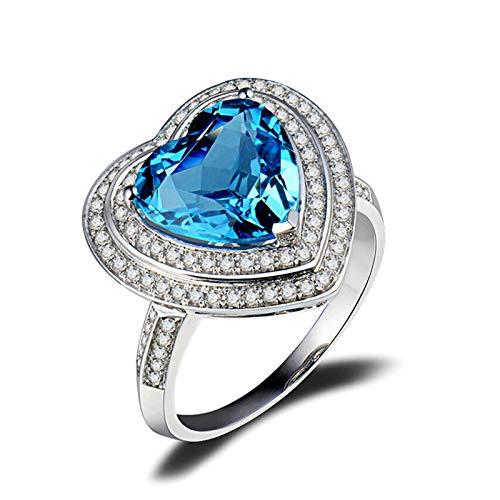 Beydodo Anillos Mujer Boda,Anillos de Oro Blanco Mujer 18 K Plata Azul Corazón Topacio Azul 4.15ct Diamante 0.38ct Talla 6,75(Circuferencia 47MM)