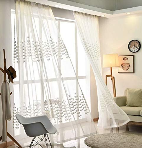 MacoHome White Zamiifolia Embroidery Net Curtain Panels 72 Inch by 102 Inch Floral Decorative Light Diffusing Sheers, 72' x 102' x 2 Panels-Grommet Top