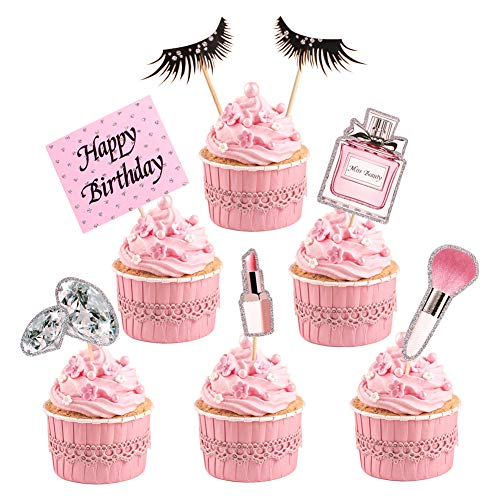 35pc Makeup Cupcake Toppers Happy Birthday Glitter Cosmetics Theme Bridal Cake Toppers Party Cake Decoration Supplies
