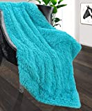 Foxmas Soft Faux Fur Throw Blanket Shag Bed Throw Blanket Fuzzy Long Hair Blanket for Girl Kid Room Warm Cozy Plush Sherpa Fleece Blanket for Couch Sofa Bed Chair, 50'' x 60'', Turquoise Blue