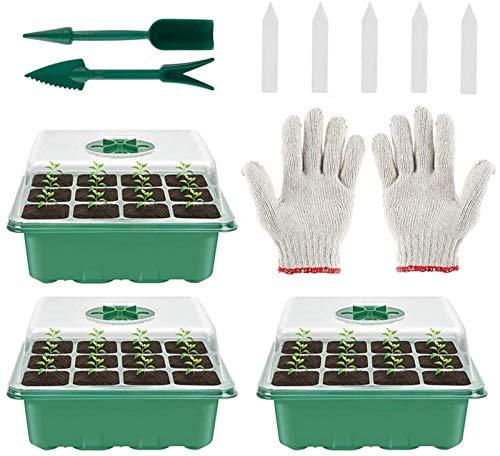 WANGDEE Gewächshaus Anzuchtset Zimmergewächshaus Anzuchtkasten Mini Kunststoff Anzuchtschalen mit Gartengeräte Klein und Pflanzenetikett 12 Löchern, Ideal für Sämling Pflanze Aufzucht