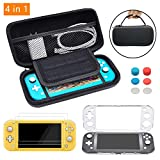 TOSTAR Carrying Case for Nintendo Switch Lite 4 in 1 Bundle Accessories Kit with Carrying Case, screen protector(2 Packs),lightweight PC Case, Joystick Caps(6 Packs)