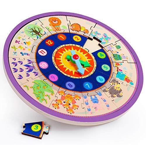 Rolimate Rompecabezas Forma de Madera Reloj de Clasificación, Número de Tiempo Bloques de Animales Puzzle, Educativo Preescolar Juguete Montessori Mejor Regalo de Cumpleaños para 3 4 5+ años Niño Niña