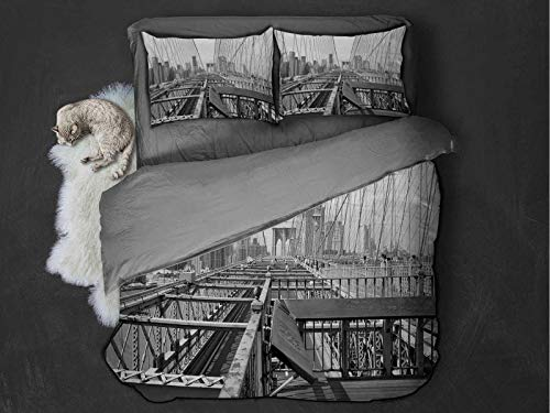 Toopeek Modern Extra large quilt cover Vintage View of Brooklyn Bridge in New York City Mechanic USA American Print Can be used as a quilt cover-lightweight (King) Black and White