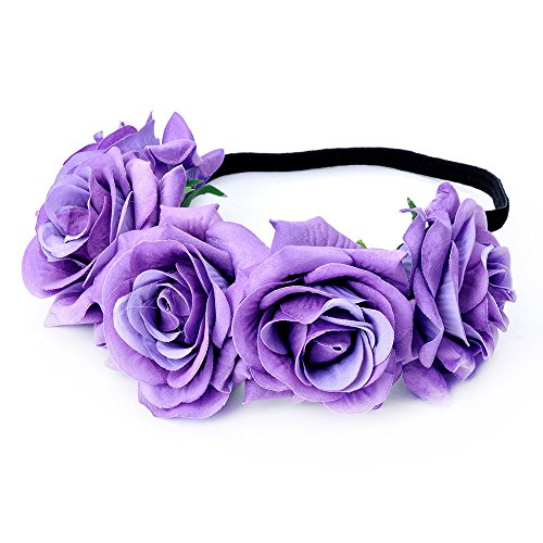 DreamLily Rose Flower Crown Wedding Festival Headband Hair Garland Wedding Headpiece (1-Lavender)