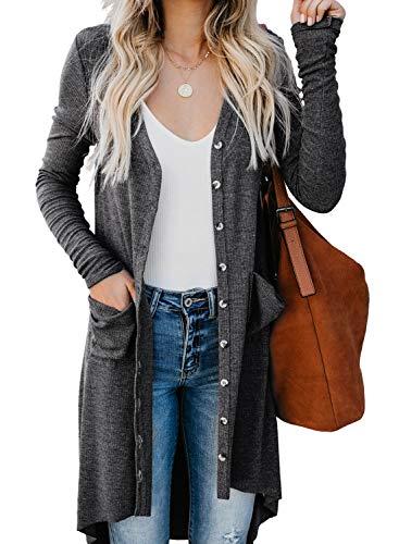GOSOPIN Damen Strickjacke Casual Cardigan Mantel Solid Color Strickpullover Outwear Langarm Coat Lässig Pullover Jacke Winter Herbst S-XXL