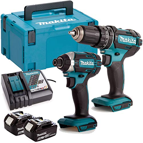Makita DLX2131TJ 18V 2 x 5.0Ah Li-ion Combi Drill DHP482 + DTD152 Impact Driver Twin Kit Set