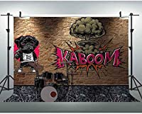 HD 7x5ft背景ロック音楽写真撮影の小道具レンガの壁カーニバルパーティー写真背景カラオケ装飾 008