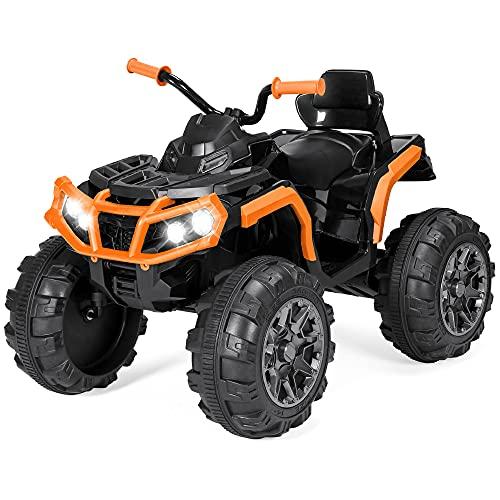 Best Choice Products 12V Kids Ride-On Electric ATV, 4-Wheeler Quad Car Toy w/ Bluetooth Audio, 3.7mph Max Speed, Treaded Tires, LED Headlights, Radio - Orange