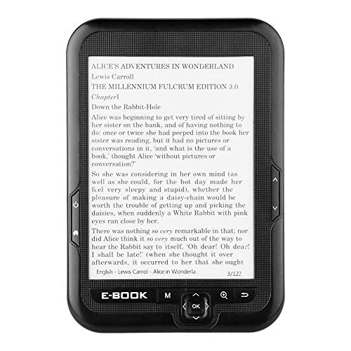 E-Reader, Portátil 6 Pulgadas USB2.0 E-book Lector de Libros Electrónicos Lectura Digital Libros Radio FM Incorporada/Función Grabación/MP3 WAV/Fotos Soporte Tarjeta TF 32GB, 29 Idiomas(Negro 16GB)