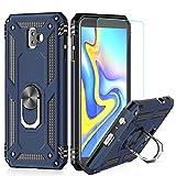 LeYi Hülle Galaxy J6 Plus Handyhülle,360 Grad Drehbar Ringhalter Cover TPU Magnetische Bumper Schutzhülle mit HD Folie Schutzfolie für Hülle Samsung Galaxy J6 Plus/Galaxy J6+ Handy Hüllen Dunkelblau