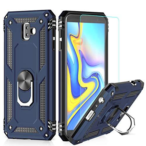 LeYi Hülle Galaxy J6 Plus Handyhülle,360 Grad Drehbar Ringhalter Cover TPU Magnetische Schutzhülle Bumper mit HD Folie Schutzfolie für Hülle Samsung Galaxy J6 Plus/Galaxy J6+ Handy Hüllen Dunkelblau