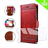 HYMY Leather Case for Wiko Y80 + Tempered Film - Red Retro