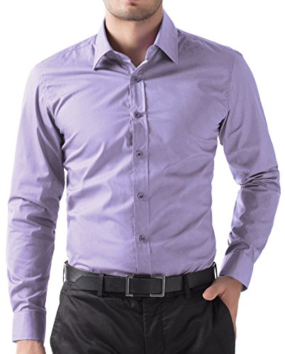 PJ PAUL JONES Men's Solid Dress Shirt Long Sleeve Button Casual Shirt Lavender