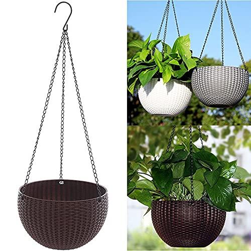 Vivefit Set de 2 Macetas Colgantes de Plástico para Plantas de Interior y Exterior. Jardineras de Decoración para Balcón Exterior o Jardín. En Marrón y Blanco. Maceteros para Colgar en Pared