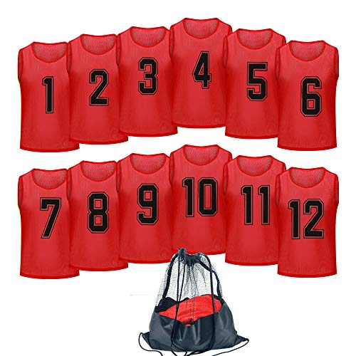 Antoyo Basketball Jersey,Pinnies Adult,Scrimmage Vests for Kids Soccer Training Equipment Red-M