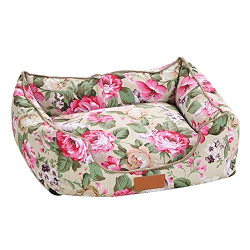 BuffyIn Deluxe mjuk hundbädd, husdjur kennel hund blommor säng hus mattor andas handtvätt soffor pastoral vind kennel husdjursprodukter husdjurprodukter, för katter och hundar