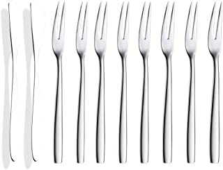 Horquilla de fruta, tenedor de postre para tartas, acero inoxidable, tenedor de cuchillo de dos dientes horquilla de fruta, 10 piezas