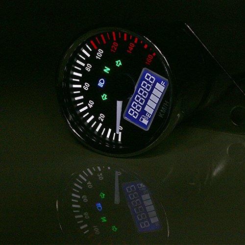 Motorrad Schwarz LCD Tacho Kilometerzähler Drehzahlmesser Multifunktions Tankanzeige Universal ATV Roller Offroad Bobber Touring