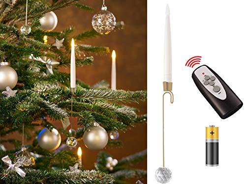 10 LED Weihnachtsbaumkerzen - Stabkerzen mit Pendelhalter und Glaskugel / kabellos / Timer / Dimmfunktion / Flacker-Modus / Weihnachtsbeleuchtung für Innen (Kerzenhalter: gold)