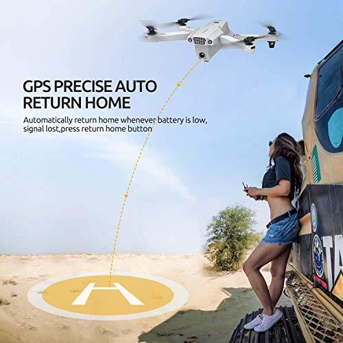 Tomzon Drone con Telecamera 4K UHD Drone GPS Pieghevole D65 FPV RC con Ritorno Automatico a Casa, Seguimi, modalità MV, Controllo Gestuale, 2 Batterie per 40 Minuti Volo e Valigetta da Trasporto