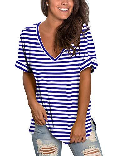 Ladies Plus Size Top Women Stripes T Shirt Short Sleeve Basic V Tees Cute Blue XXL