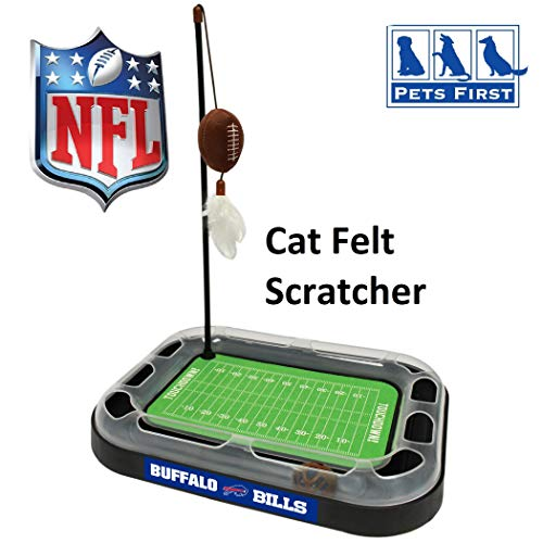 BEST CAT TOY NFL Pittsburgh Steelers Football Field CAT Scratcher Toy with Catnip Filled Plush Football Toy & Feather Cat Toy Hanging, with Jingle Bell Interactive Ball Cat Chasing 5-in-1 Kitty Toy