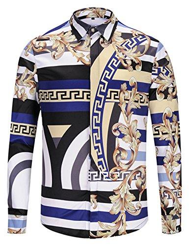 Pizoff Herren Luxus Langarm Hemden mit Baroque-Motiven,Y1792-32,Medium