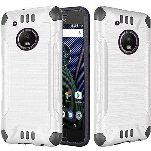 Motorola Moto G5 Plus / Moto G PLUS 5th Gen XT1687 Case Heavy Duty Brushed Metal Metallic Finish Slim Fit Shock Impact Dual Layer Protection Hybrid TPU Hard Case (White)