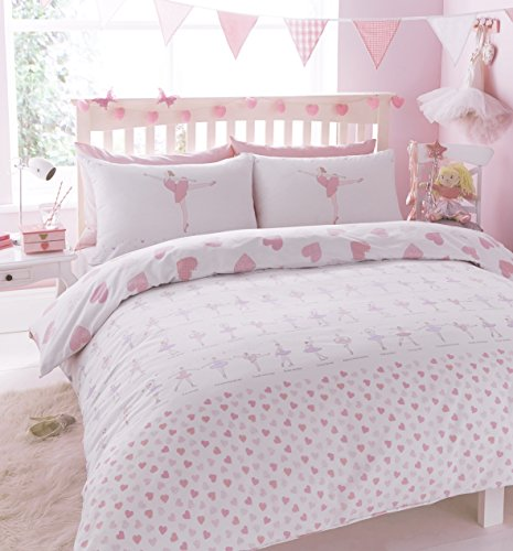 Ballerina Ballet dancer Bed set, featuring Dancing and Pink hearts Duvet cover & Pillow case set (Single)