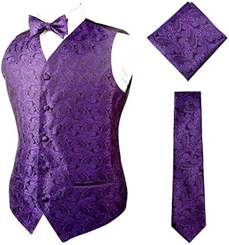 Alizeal Mens Classic Paisley Floral Single Breasted Business V Neck Tuxedo Vest Self tied Bow product image