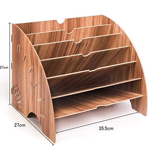 uyoyousファイルボックス木製デスクトレー扇形本棚デスク上置棚6段ファイルラック省スペース多機能ファイルスタンド整理整頓横置くファイル新聞雜誌事務用品仕切りナチュラル