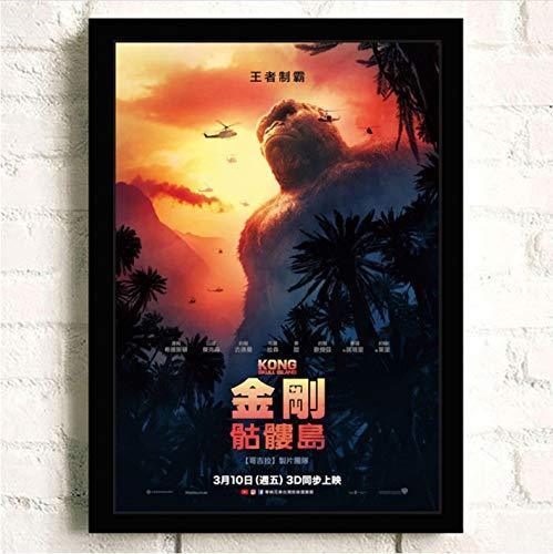 Impresión En Lienzo King Kong Skull Island Pintura Calidad Reying Decoración Para El Hogar Decoración De Arte Sala De Estar Carteles Arte De La Pared Pintura De La Lona A219 (50X70Cm) Sin Marco