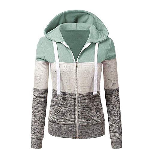 Newbestyle Jacke Damen Kapuzenpullover Strickjacke Pullover Sweatshirt Hoodies Kontrastfarbe Pulli Hellgrün X-Large