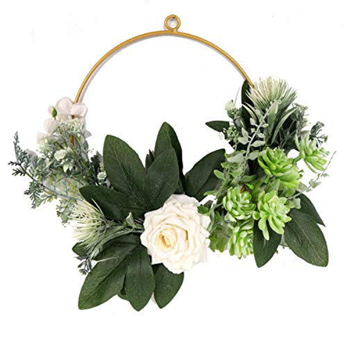 Artificial Eucalyptus Green Leaf Wreath with Cotton, Spring Summer Outdoor Ornaments for Easter Valentine Decor Front Door Bedroom