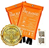 Supa Ant Eco-Friendly (1500֯F) Fire Blanket, High Visibility CE Certified Emergency Fire Blanket for Home, Kitchen, Car, Van, RV, Office, Reusable (39.3x39.3in) (2 Fire Blankets + 2Hooks)