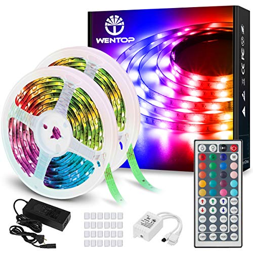 WenTop LED Strip 20m LED Streifen 600 LEDs, RGB LED Lichterkette 5050 SMD Selbstklebend LED Leiste mit 24V Adapter, LED Band Für zu Hause, TV, Schlafzimmer, Party, Festival Dekorative Und Beleuchtung