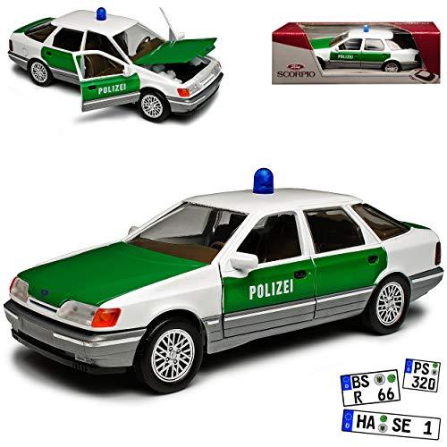 Schabak Ford Scorpio Limousine Polizei 1. Generation 1985-1994 1/24 1/25 Modell Auto mit individiuellem Wunschkennzeichen