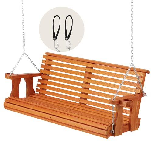 U-MAX Porch Swing Outdoor Wooden Hanging Bench Swing Amish Heavy Duty 800 Lb Roll Back 4.5ft. Comfort Porch Swing with Hanging Chains and Cupholders