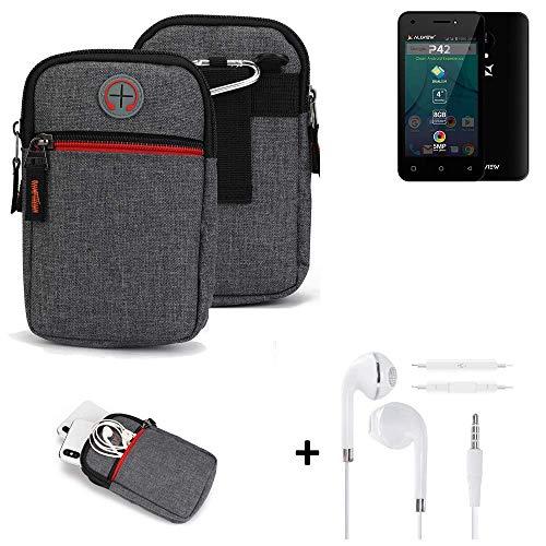 K-S-Trade® Gürtel-Tasche + Kopfhörer Für Allview P42 Handy-Tasche Holster Schutz-hülle Grau Zusatzfächer 1x