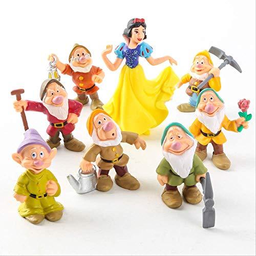 HOU&PR Blancanieves y los Siete enanitos Figura de acción Juguetes 6-10 cm Princesa PVC muñecas colección Juguetes para niños Regalo de cumpleaños 8 Piezas