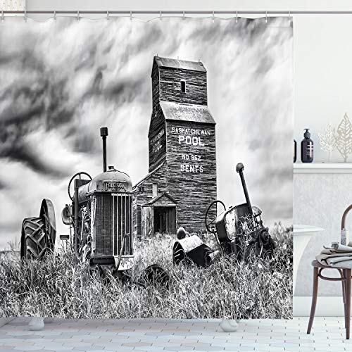 """Ambesonne Industrial Shower Curtain, Old 60s Abandoned Tractor in Farm in Central Canada Nostalgic Machinery Elements Image, Cloth Fabric Bathroom Decor Set with Hooks, 70"""" Long, Grey"""