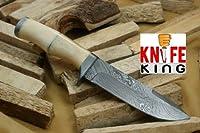 """Knife King"" Angelo Bianco Custom Damascus Knife カスタムダマスカス手作りハンティングナイフ。レザーシース。トップの品質。"