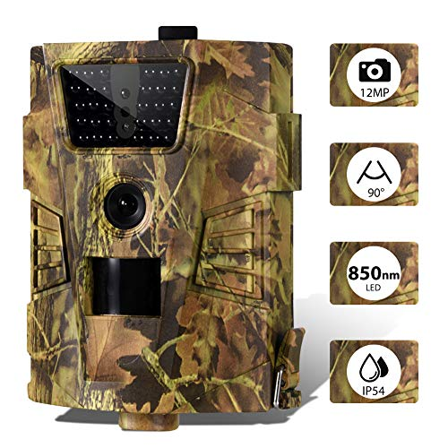 Mini Wildkamera 12MP 1080P Full HD 30pcs No-Glow Infrarot LED Jagdkamera 90 ° Weitwinkel Infrarote Wasserdicht Bewegungsmelder Fotofalle Trail Camera für Jagd, Überwachung von Eigentum und Tieren