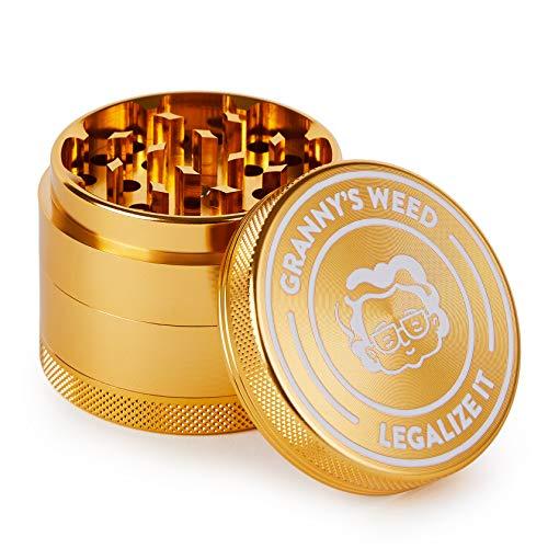 Granny's Premium Aluminium Grinder | messerscharfes Mahlwerk | 4-teilig | inkl. Pollenschieber | Kräutermühle in Gold u. weitere edle Designs | ∅ 5,5 cm